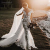 Champagne lining Mermaid Bridal Gowns with Dechable Skirt DW192