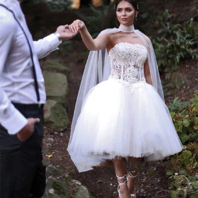 Short Wedding Dress with Long Pearls Cape  TBW81