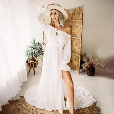 Simple Boho Wedding Dresses Flutter Bridal Gowns