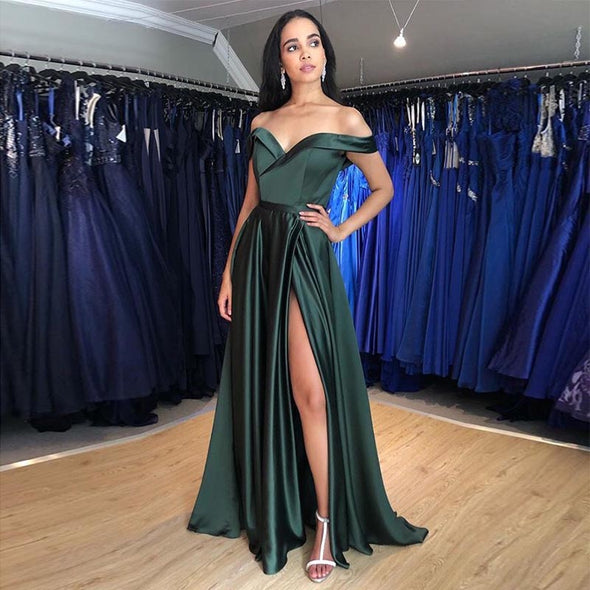 Simple Long Prom Dress Off Shoulder Front Split Robe De Soiree Forest Green Burgundy Special Occasion Party Gowns
