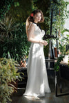 Simple Soft Satin Wedding Dresses Deep V-Neck High Split Bridal Gowns