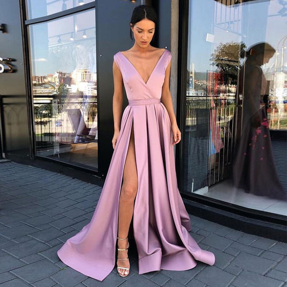 Simple V-neck Long Evening Dresses Blush Pink Satin Floor Length