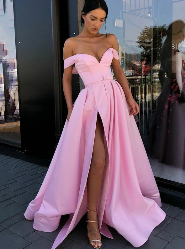 Simple Off-the-shoulder Satin Pink Long Prom Dress with Slit TB1352