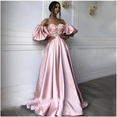 Pink Sweetheart Neck caftan Evening Dresses Flowers Full Sleeve