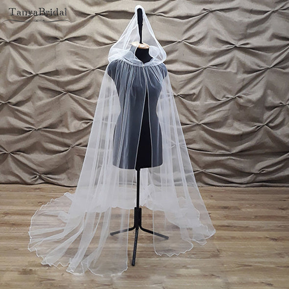 Soft Tulle Hood Wedding Cape Crocheted elegant Bridal Cloak Shawl 2m Length