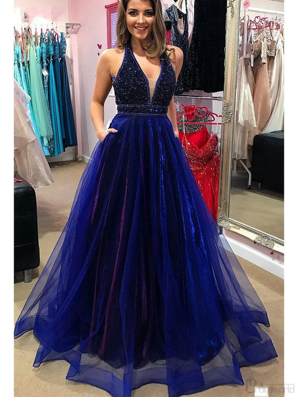 Sparkly Royal Blue Prom Dresses 2020 with Beading Pockets A-Line V-neck Tulle Long Prom Gown Backless Sexy Formal Evening Dress
