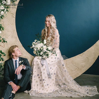 Sparkly Star Sequines Wedding Dresses Light Champagne Long sleeve Bohemian Bridal Gowns