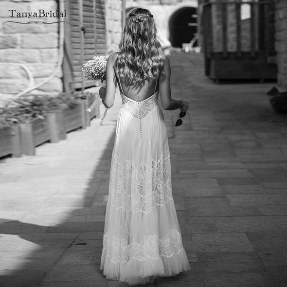 Striking Hippie Style Wedding Dresses Sexy Backless Fashion nude lining Bridal Gowns Bohemian Vestido De Noiva China DW017