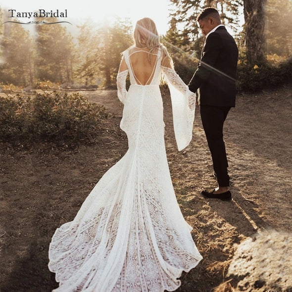 Sun-kissed Romantic Lace Wedding Dresses Vestido de Noivas DW468