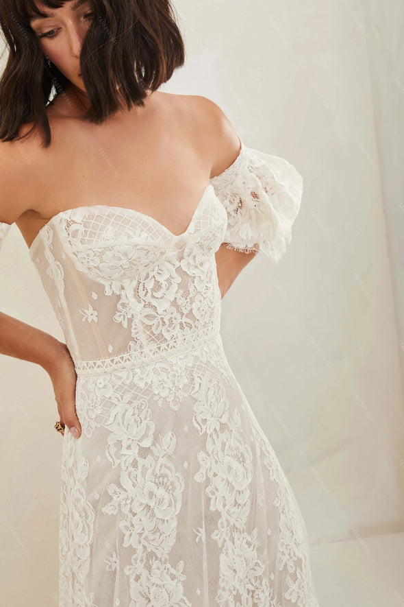 Sweetheart Lace Wedding Dresses Lantern Sleeve A Line Bridal Gowns DW504