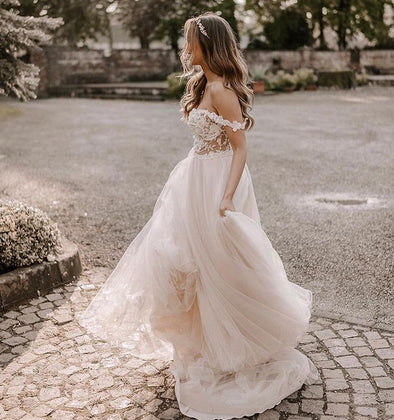 A Line Bohemian Long Lace Tulle Wedding Dresses Off The Shoulder TB1413