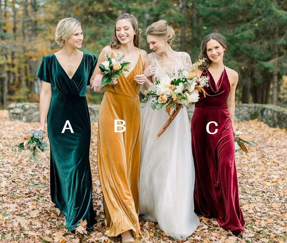 Velvet Elegant Long Bridesmaid Dresses TB1463