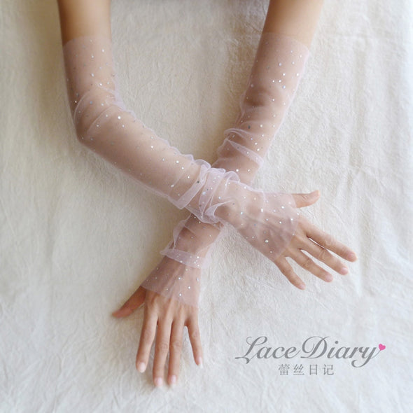 Sparkly Sheer Tulle Bridal Gloves Touchscreen fingerless Bridal Wedding Sequined Decoration Wedding Accessories