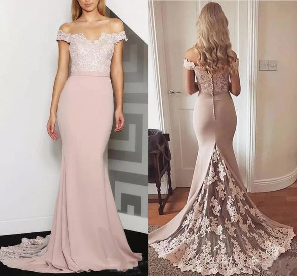 Dusty Pink Long Mermaid Lace Bridesmaid Dress TB1382