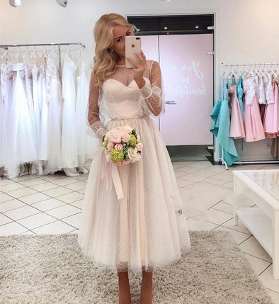Robe De Soiree Dot Tulle Long Sleeves Short Prom Dress TB1385