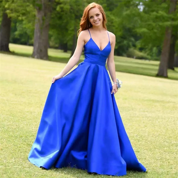 Royal Blue A Line Long Satin Prom Dress With Pockets TB1386