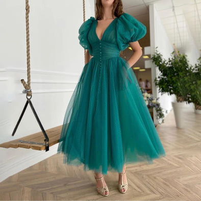 Teal Green V-Neck Dotted Tulle Homecoming Dresses
