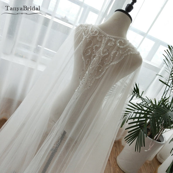 Two Layers Tulle Cape Beaded Tulle Fairy Wedding Shawls Formal Wrap Wedding Noivas Accessories DJ052