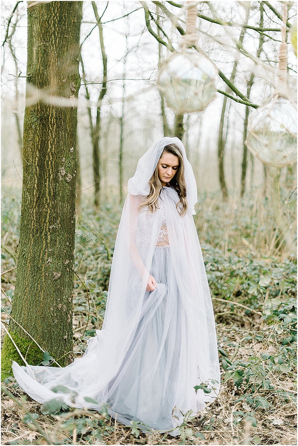 Two Layers Tulle wedding Cloak with Hood Simple Fairy Boho Wedding Cape 2m length DJ098