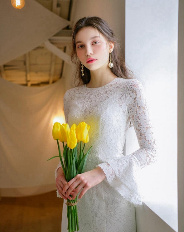 Lace Long Sleeve Simple Bridal Gown Wedding Dress