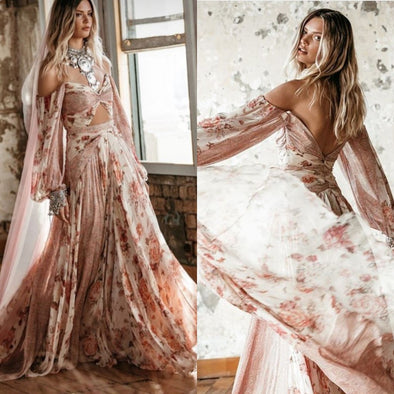 Boho Print Chiffon Beach Wedding Dress Vintage Lantern Sleeve Pink Off the Shoulder Sexy Bridal Gowns