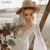 Unique Lace Wedding Dresses Flare sleeve ALine Bridal Gowns V-Neck Robe de Soriee Noivas Chic DW244