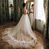 V-Neck Lace Beaded Wedding Dresses Dreamy Tulle Skirt Bridal Gowns Robe De Soriee DW225