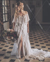 V-Neck Ruffles Lace Wedding Dresses Bohemian Bridal Gowns DW344