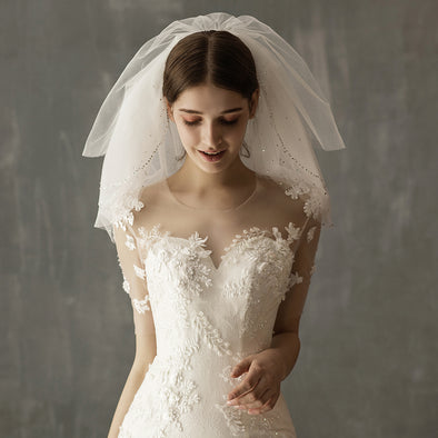 Five-layer point diamond short bridal veil