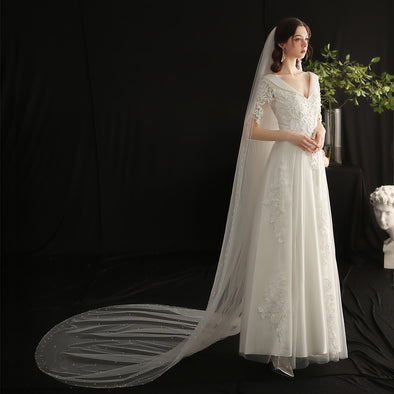 V657 Long Pearls Wedding Veil 300cm Length