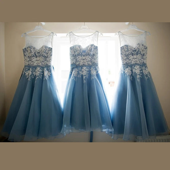 Sky Blue Bridesmaid Dresses Lace Beautiful A Line Wedding Party Dress