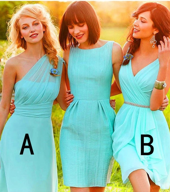 Chiffon Green Bridesmaid Dresses Cheap One Shoulder Bridesmaid Dresses
