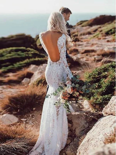 Backless Lace Long Sleeve Mermaid Wedding Dress TBW65
