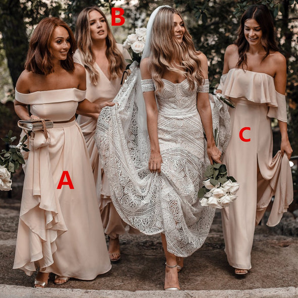 Chiffon Two Piece Bridesmaid Dresses Cheap Long Off The Shoulder Bridesmaid Dresses