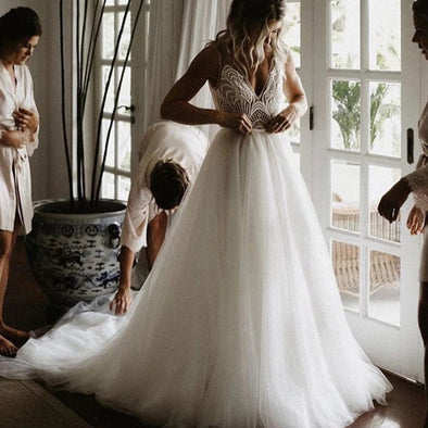 Two Piece Lace Wedding Dresses Sexy Unique Beauty Bridal Gowns