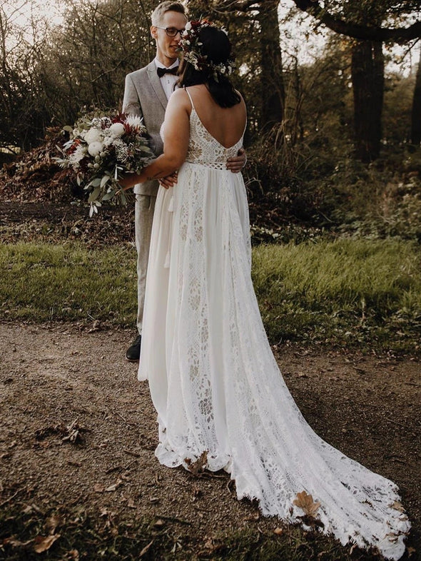 Plus Size Lace Wedding Dresses A Line Ivory Beauty Bridal Gowns TBW72