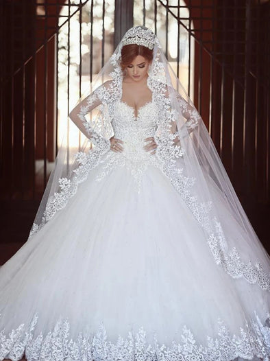 Ball Gown Long Sleeve Wedding Dresses Sweetheart Bridal Gowns With Applique TBW71