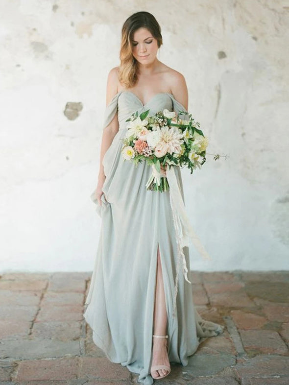 Chiffon Off The Shoulder Sweetheart Open Back Bridesmaid Dress