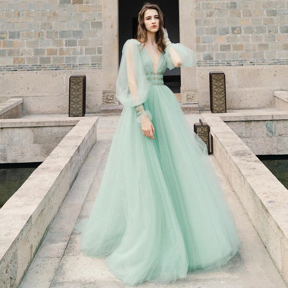Korea Tulle A Line Long Prom Dress Puff Sleeve V Neck Floor Length Party Gowns