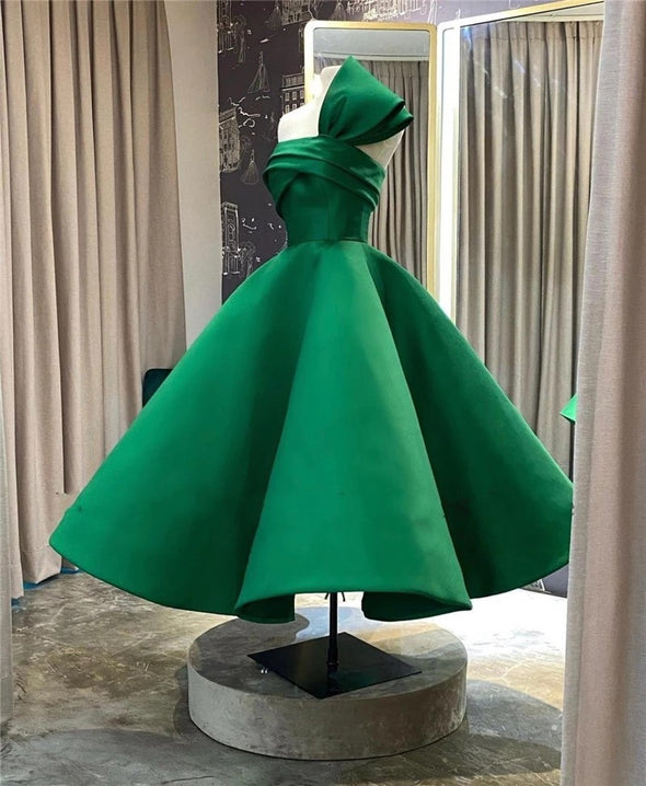 New Design Saudi Arabia Evening Dresses Green Satin Pleats Puffy Short Prom Gowns