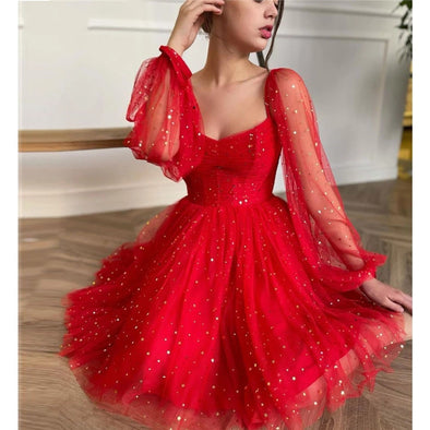 Sparkly Red Stars Tulle Puff Long Sleeves Evening Party Dresses