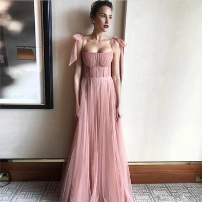 Beauty Bow Tulle Formal Pink long Evening Dress
