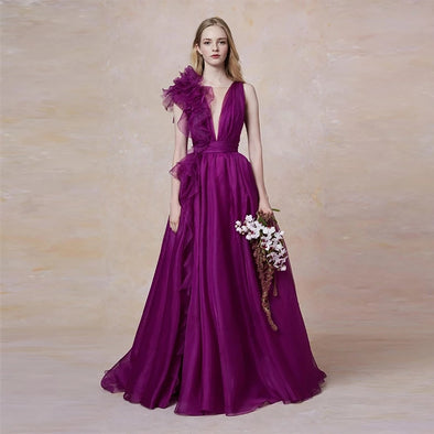 Purple Evening Dress In Organza Fashion Evening Gown