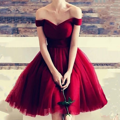 Simple Red Tull Prom Dresses Short Ball Gown