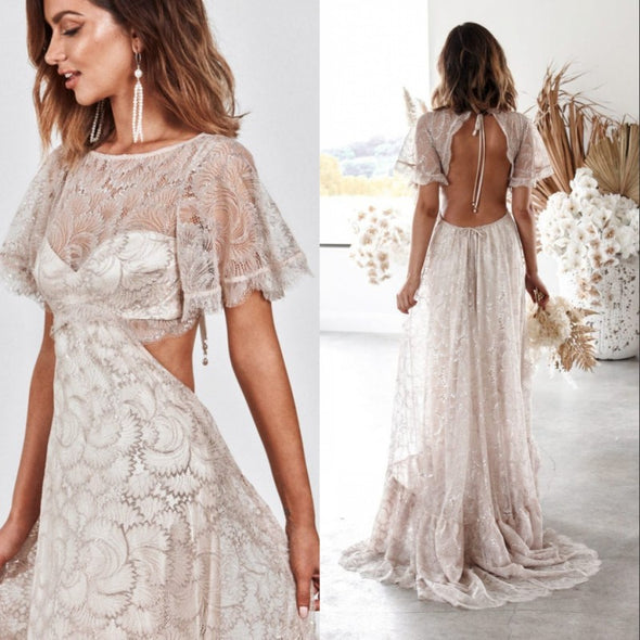 Vintage Champagne Boho Chic Lace Wedding Dress 2021