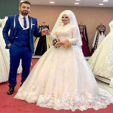 Arabic Vintage  Middle East Hijab Muslim Wedding Dresses TB1475