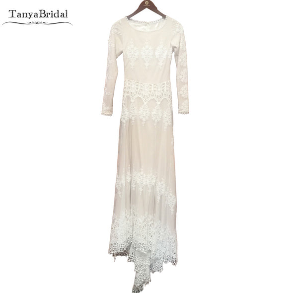 Vintage Timeless Bohemian Wedding Dresses Long Sleeve Embroidery Lace Noivas Stretch Charmeuse Nude Lining Bridal Gown DW002