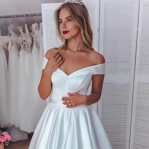 Off Shoulder Short Sleeve A-Line Simple Satin Wedding Dress