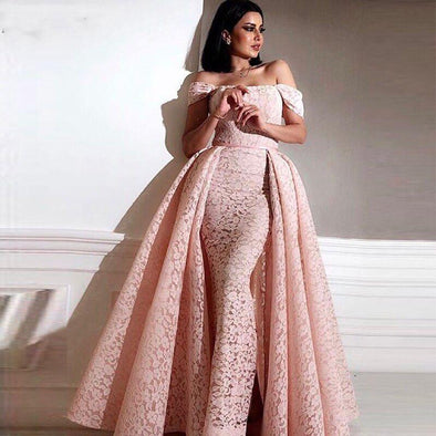 Pink Off The Shoulder Lace Mermaid Formal Dress Prom Gowns with Detachbale Skirt