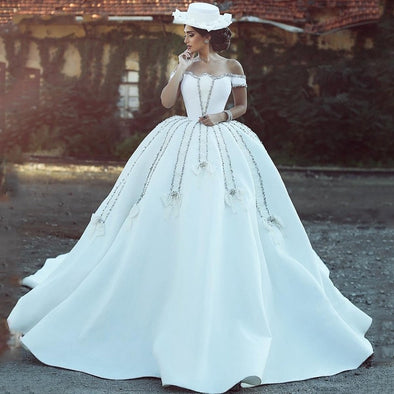 White Ball Gown Crystal Satin Wedding Dresses Off Shoulder Backless with Long Custom Made Garden Church Bridal Gowns